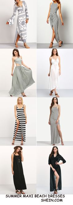 Casual maxi beach dresses are must in the summer heat! The classy color is the highlight on for the upcoming summer season! They are so breathable on comfy! If you want to buy, you can click http://m.shein.com/Global-Casual-Beach-Dress-vc-3772.html