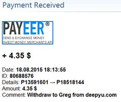 Payment received from Deepyu Invest – 18/08/2015
