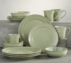 Cambria Dinnerware, Soup Bowl Set, Celadon at Pottery Barn Grey Dinnerware, Stoneware Dinnerware Sets, Tableware, Asian Dinnerware, Dinnerware Ideas, Pottery Barn, Blue Pottery, Bleu Celadon, Soup Bowl Set