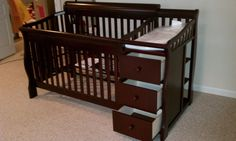 Convertible crib with changing table combo dresser luxury within baby cribs and graco con . convertible crib with changing table Changing Table With Drawers, Crib With Changing Table, Best Baby Cribs, Best Crib, Baby Dresser, Dresser Sets, Baby Room Temperature, Ikea Crib, Baby Boy Room Decor