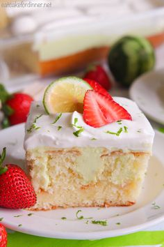 Key Lime Poke Cake is a delicious white cake that is seeping with a sweet and tart mixture that soaks into the holes. Topped with fresh whipping cream and strawberries this makes a delicious dessert! Hi, it's Jenn, from Eat Cake For Dinner. Every Summer, I suddenly become obsessed with key lime everything and I have …