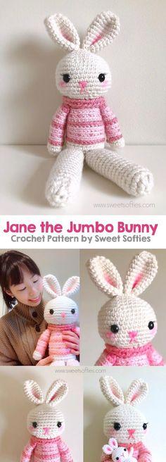 the Jumbo Bunny (Twee Toys Collectible Series) Jane the Jumbo Bunny is a big amigurumi crochet rabbit doll made with super bulky yarn! Tags: the Jumbo Bunny is a big amigurumi crochet rabbit doll made with super bulky yarn! Crochet Baby Toys, Crochet Amigurumi Free Patterns, Free Crochet, Irish Crochet, Crochet Animals, Crochet Gifts, Crochet Rabbit, Free Baby Stuff, Stuffed Toys Patterns