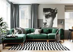 Un appartement bleu et vert en Russie Living Room Green, Living Room Sofa, Home Living Room, Interior Design Living Room, Living Room Designs, Living Room Decor, Modern Apartment Design, Interior Designing, Bedroom Designs