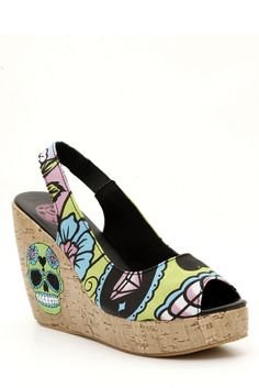 Shop for the latest shoes, pop culture merchandise, gifts & collectibles at Hot Topic! From shoes to tees, figures & more, Hot Topic is your one-stop-shop for must-have music & pop culture-inspired merch. Hot Topic Shoes, Walking In Heels, Day Of The Dead Skull, Cute Wedges, Shoe Art, Art Shoes, Women's Shoes, Wedge Shoes, Fashion Shoes