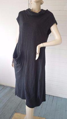 MOYURU Sculptural Lagenlook Art to Wear Black Striped Dress Japan S fits M L #Moyuru #Casual