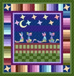 """Cat's Night Out"" - Quilt Pattern, free downloadable .pdf"