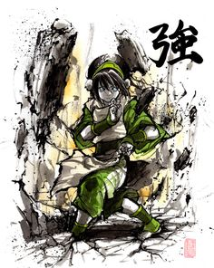 Toph with sumi and watercolor by MyCKs.deviantart.com on @DeviantArt