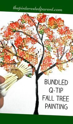 Easy Bundled Q-tip stamped tree paintings for every season. Winter, spring, summer and fall arts and craft project for kids. Great for toddlers or preschoolers