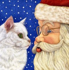 Christmas cat in fine art. Paintings with cat in Christmas interior. Christmas Animals, A Christmas Story, Christmas Cats, Christmas Pictures, Xmas, Christmas Scenes, Christmas Stuff, C Is For Cat, Santa Claus Is Coming To Town