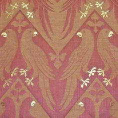 Impressive Rare Historic 1844 Pugin Design: Gothic Birds Parrot Motif Upholstery Fabric
