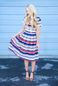 Brown sandals. Red white and blue dress