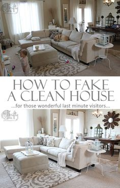 How to fake a clean house in 20 minutes. Over 25 tips, some that you probably wouldn't think of. (I prefer to just have a clean house but will have to check this out in case of emergency company) Diy Cleaning Products, Cleaning Hacks, Home Cleaning Tips, Spring Cleaning Tips, Iron Cleaning, Speed Cleaning, Cleaning Solutions, Room Ideias, Home Hacks