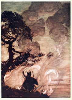 As he moves slowly away, Wotan turns and looks sorrowfully back at Brünnhilde.    Arthur Rackham, from The Rhinegold & the Valkyrie, by Richard Wagner, London, New York, 1910.