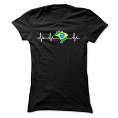 BRAZIL HEARTBEAT T SHIRTS - #grandparent gift #house warming gift. LIMITED AVAILABILITY => https://www.sunfrog.com/States/BRAZIL-HEARTBEAT-T-SHIRTS-Ladies.html?68278