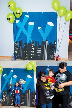 DIY painted city skyline photo booth backdrop