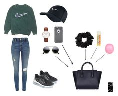 """Simple trendy look"" by cccharity on Polyvore featuring mode, NIKE, American Apparel, Burt's Bees, River Island, Daniel Wellington, OtterBox, women's clothing, women's fashion en women"