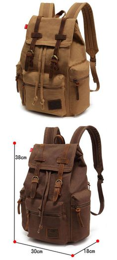 Retro Brown Scrub Canvas Backpack for big sale ! #backpack #school #canvas #rucksack #bag #travel #college #outdoor #student
