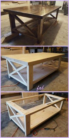 muebles soldadura DIY Rustic X Coffee Table Tutorial-Free Plan Landscaping, An American Pass Time Ar X Coffee Table, Rustic Coffee Tables, Rustic Table, Diy Coffee Table Plans, Farm Tables, Kitchen Tables, Woodworking Coffee Table Ideas, Pallette Coffee Table, How To Build Coffee Table
