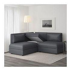 VALLENTUNA 3-seat corner sofa with bed, Hillared dark grey - IKEA