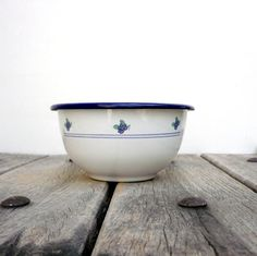 White And Blue Enamel Bowl With  Blue FlowersVintage by CostaSul