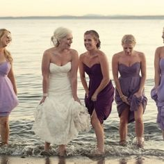 A beautiful beach wedding with varying shades of purple details
