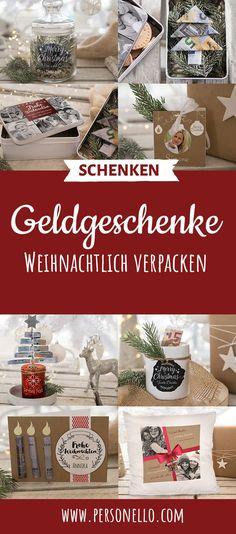 Geldgeschenke weihnachtlich verpacken. Weihnachtsgeschenke. Du verschenkst zu Weihnachten immer nur Geld? Verleih deinem Geldgeschenk mit Fotos und lustigen Sprüchen als Gravur eine persönliche Note. Basteln, personalisieren, Freude verschenken. #Weihnachten #Geschenk