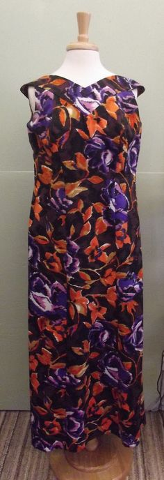 Hawaiian Floral Midcentury 60s Long dress with by PiecesBoutique, $26.00