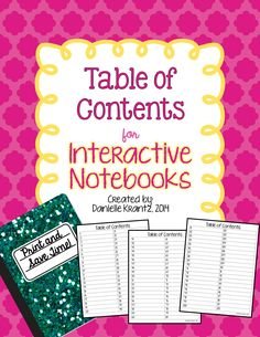 Live. Love. Math.: Freebie - Table of Contents for Interactive Notebooks