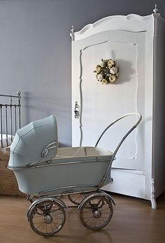 Baby carriage vintage. IF I EVER had a baby, a vintage stroller is my only request to be used as decor & for walks around the neighborhood.