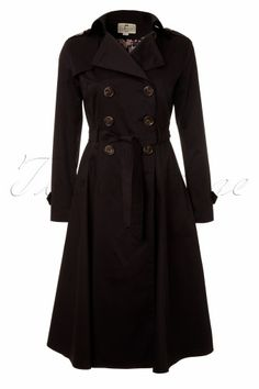 Collectif Clothing - Dietrich Swing Trench Coat in Black