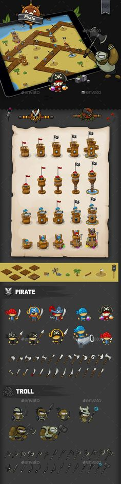 Tower Defense Game Set Pirate - Game Kits #Game Assets Download here:  https://graphicriver.net/item/tower-defense-game-set-pirate/20030261?ref=alena994