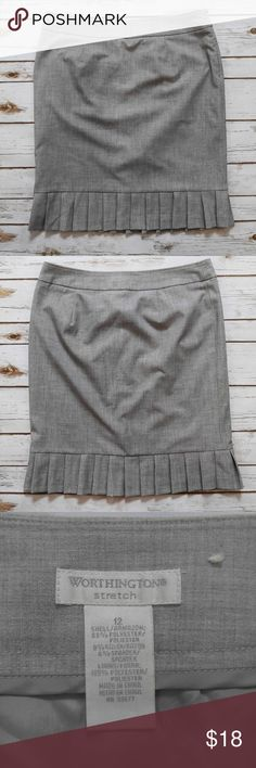 Worthington Gray Bottom Pleated Skirt Worthington Gray Bottom Pleated Skirt Size 12 in good used condition. Please feel free to ask any questions or bundle with other listings in my closet for a custom discount on your order. I ship the same day as long as the order is placed before 11:00 AM Central time. If you would like to be notified about price drops remember to 'like' the item to bookmark it! Thank you for checking out my closet and happy poshing! Worthington Skirts Pencil
