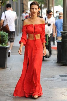 Best Celebrity Summer Street Style: Emily Ratajkowski; The model/actress makes waves in a bold two-piece look by Majorelle with a flawy boho vibe.