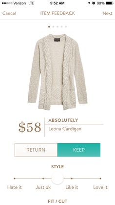 Absolutely Leona Cardigan - I'd like a soft, nubbly white or cream cardigan or sweater in my next fix. The sleeves were too tight on the last one I received.