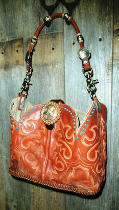 Brown and turquoise cowboy boot purse hand bag From Diamond 57 Cowboy Boot Purses