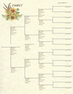 by Scrapbook Your Family Tree Collection : Family – Pedigree Chart 1 Part of the 2017 Family Collection – Design: Sunflowers A numbered, 5 generation pedigree chart. Printed on antique colored …