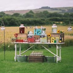 Offer your guests a DIY honesty bar, all items available to hire