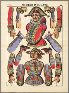 Polichinel et Paillasse. Puppetry in pictures. Victorian Paper Dolls, Victorian Toys, Victorian Christmas, Paper Puppets, Paper Toys, Paper Art, Paper Crafts, Exquisite Corpse, Le Clown