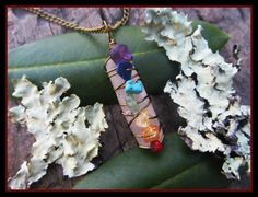 Chakra Pendant Necklace crystal necklace rainbow by dieselboutique