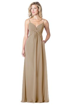 Spaghetti strap dress with twist bust , cutout back bodice, side zipper and pockets.   Style IC-1619 in Bronze #bridesmaids #weddings