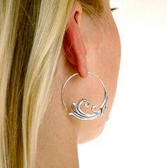 Sterling Silver Hoop Earrings Flourish Solid Silver by Zephyr9