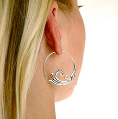Sterling Silver Hoop Earrings Flourish Solid Silver by Zephyr9