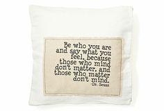 """Dr. Seuss """"You"""" 20x20 Pillow, White"""