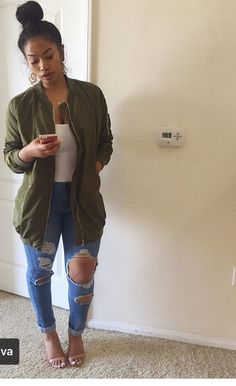 Replace the heels with some olive green hurraches