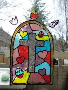 DIY stained glass window clings!