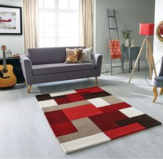 Lexus Red Rugs - Buy Red Rugs Online from Rugs Direct Modern Carpet, Modern Rugs, Geometric Rug, Geometric Designs, Rug Sale, Red Rugs, Home Living Room, Rugs Online, Home Decor