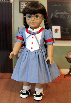 Red White and Blue 1940's Frock for Molly by BabiesArtUs on Etsy, $45.00