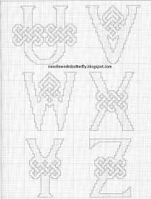 Celtic alphabet - 4 of 4 : Needle-Works Butterfly: CROSS STITCH PINCUSHION AND NEEDLE CASE