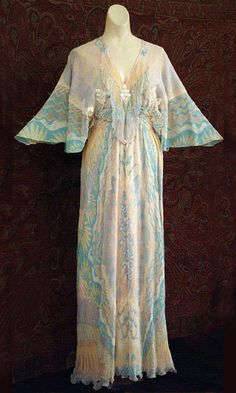 Zandra Rhodes chiffon evening dress from the collection of Irene Worth, 1970s. From the Vintage Textile archives.