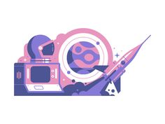 Adobe Live: Space designed by Justin Mezzell. Connect with them on Dribbble; the global community for designers and creative professionals. Space Illustration, Graphic Design Illustration, Illustrations, Mercury Logo, Creative Inspiration, Design Inspiration, Express Logo, Space Launch, Surreal Collage